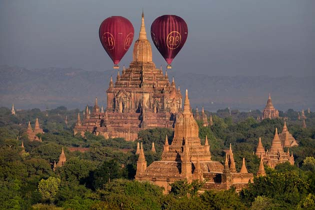 Balloons over Bagan at sunrise