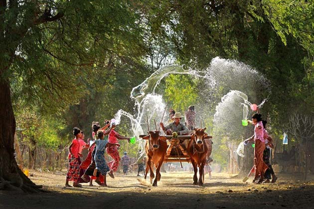 Join in Thingyan Water Festival on a horse carriage