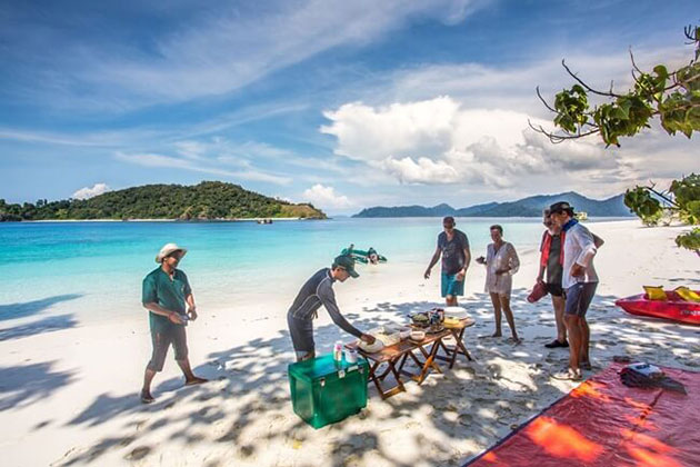 Sunbathing in Myeik archipelago tour