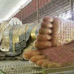 The massive reclining Buddha statue in Chauk Htat Gyi Pagoda