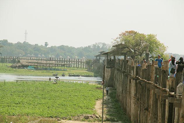 the 200 year old U Bein Bridge in Mandalay