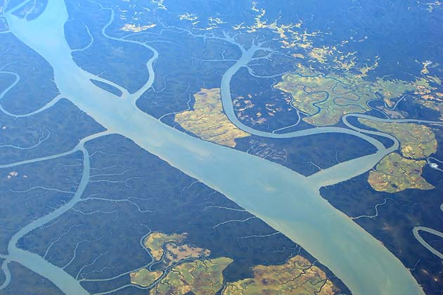 Irrawaddy river from above