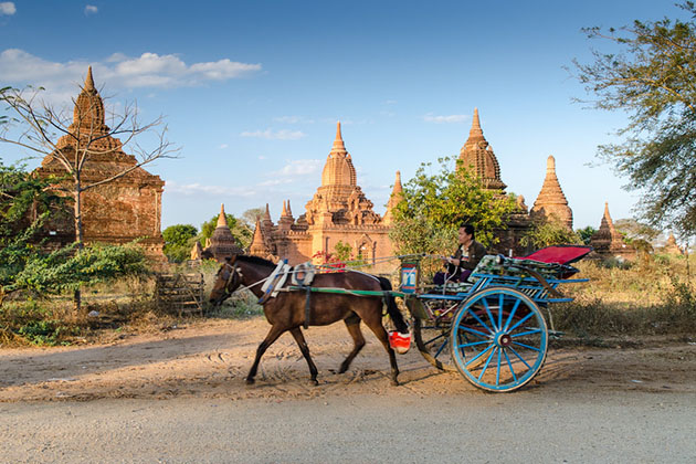 Get on a horse cart ride and explore Bagan from a different perspective