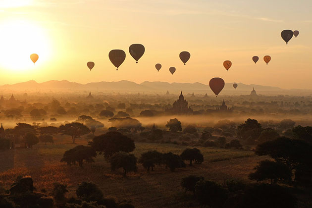 Hot air Balloon ride - a fantastic experience in Myanmar river cruise