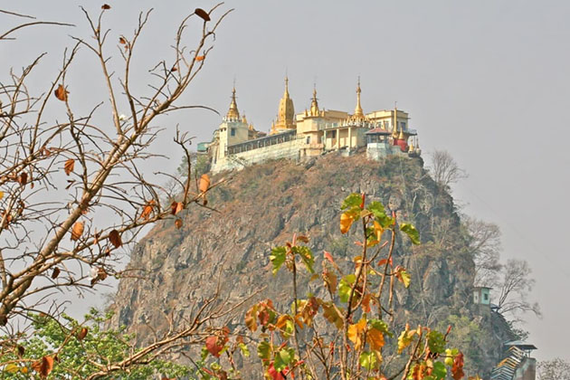 Mt Popa is a magnificent extinct volcano in the Bagan with 1515 meters high
