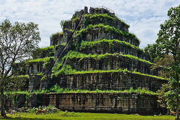 Prasat Thom-an ancient ruin of the 36 meter high temple in Koh Ker