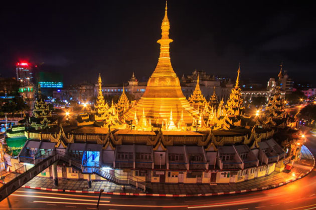 Sule Pagoda-a dramatic golden 44 meters tall stupa which is over 2500-year-old
