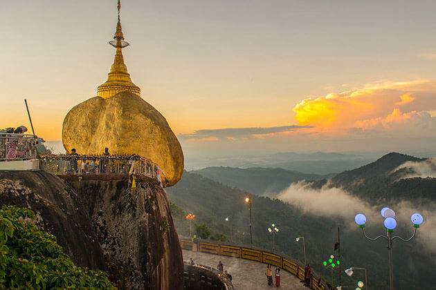 The Golden rock pagoda sunset