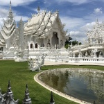 Wat Rong Khun temple is the impressive white and most recognizable temple in Thailand