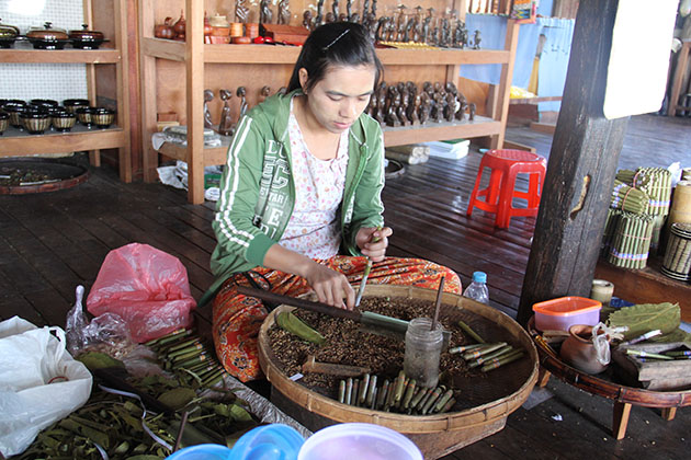 a local cigar house in Inle Lake
