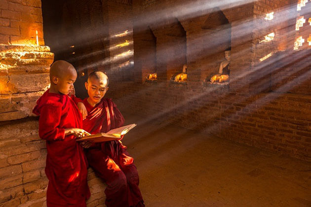 monks in bagan