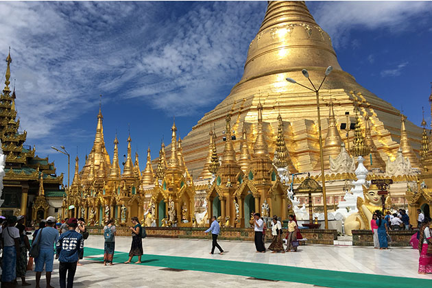 shwedagon pagoda in the most famous tourist atrraction in Yangon