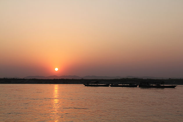 sunset on Irrawaddy river on the way back from Mingun