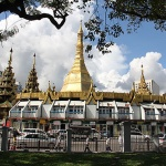 the 2500-year-old Sule Pagoda in Yangon