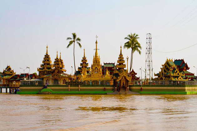 the floating Ye Le Paya pagoda on an island of Syriam- Myanmar tour 7 days