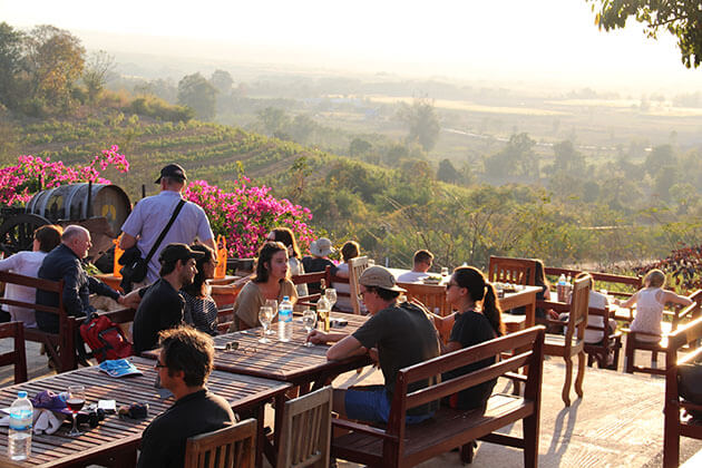 Enjoy Red mountain sunset and the best wine in Inle Lake tours