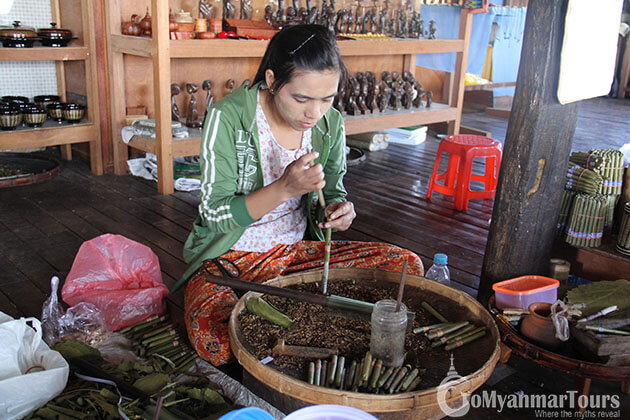 Inle lake cigar making