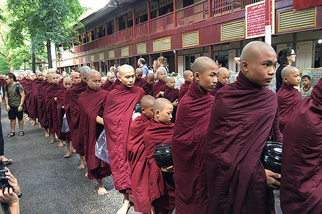 Monks in Magagandayon monastery in Mandalay