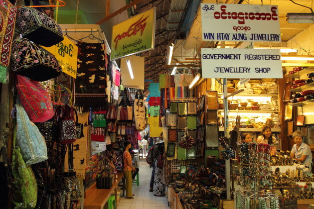bogyoke market-best places to gaze out at the local trading in Yangon tour packages