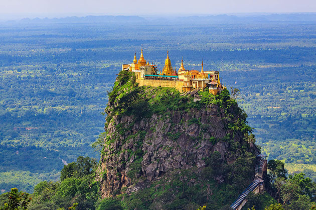 mt popa in bagan-where is famous for a monastery that perches dramatically atop a sheer-sided volcanic plug