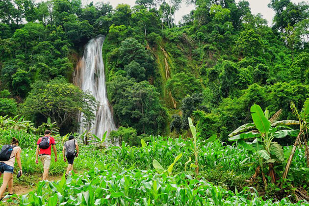 trekking to the waterfall in hsipaw