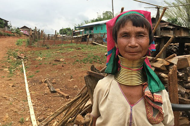 the longneck woman in the tranquil villages of Kayah State