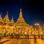 Shwedagon pagoda lit up in the evening