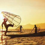 inle lake leg rowers at sunset time