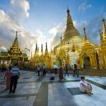 shwedagon pagoda glittering in sunset time