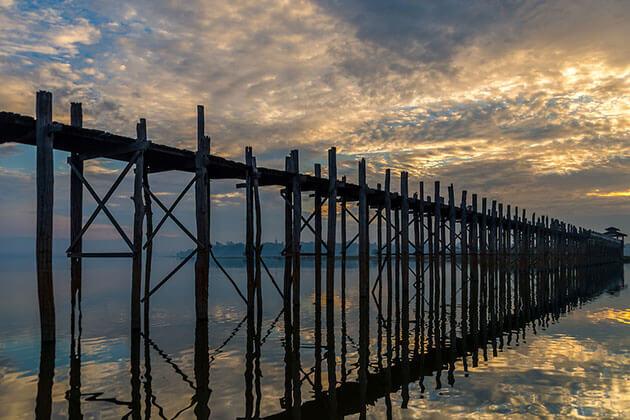 the 200 year-old U Bein Bridge in Amarapura
