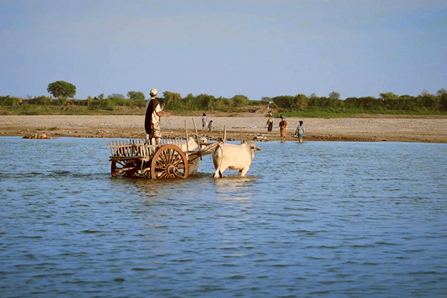Local people living along Irrawaddy river