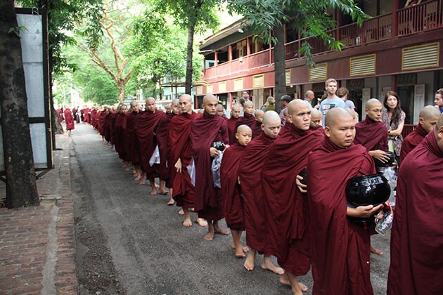 Monks in the mahagandayone monastery