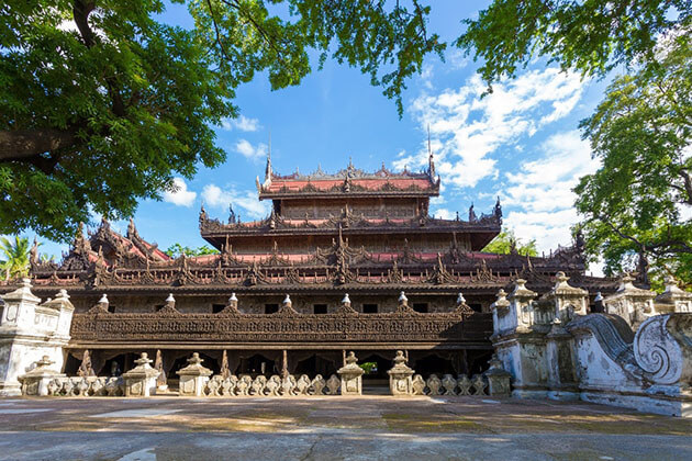 Shwenandaw Monastery - the finest example of Burmese wooden architecture in the 19th century