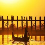 U bein bridge and the local fishermen