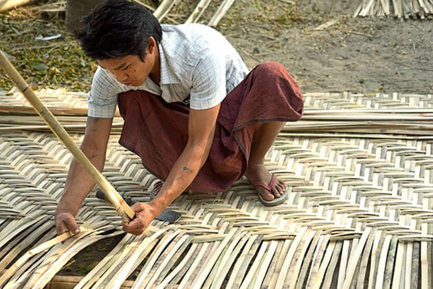 local handicraft of bamboo cane basket weaving in hnaw none village
