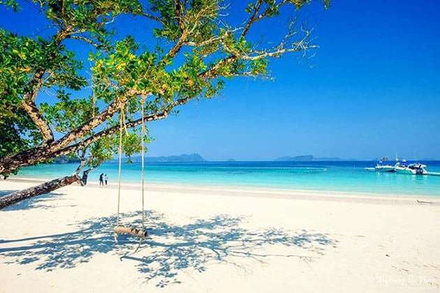 the beautiful white sand beach in Nyaung Oo Phee Island