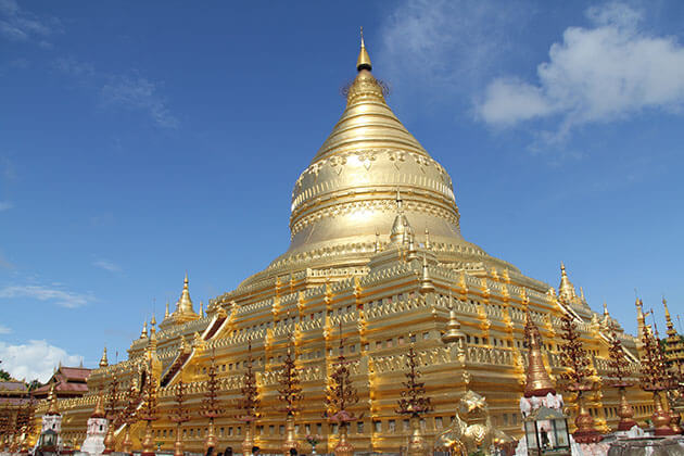 the golden shwezigon pagoda is one of the most important pilgrimage sites in Myanmar