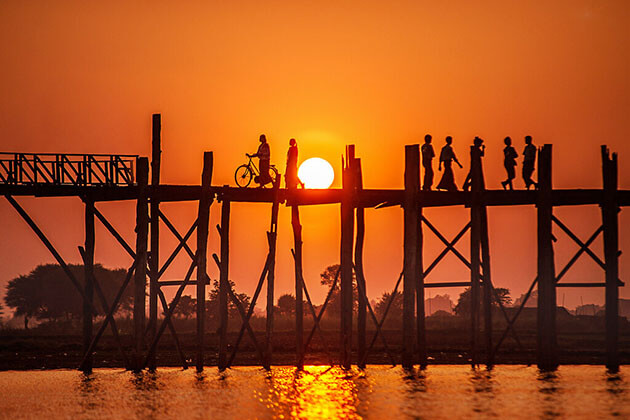 magical sunset over U Bein Bridge