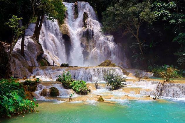 Myanmar laos travel to kuang si waterfall