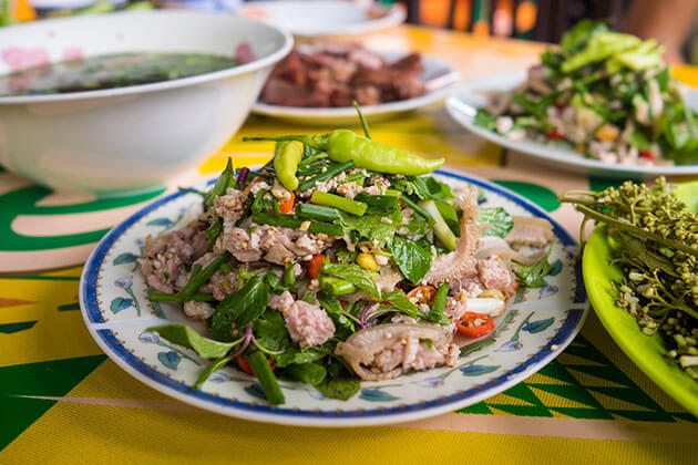 laap is one of the best food to try in Myanmar laos tour