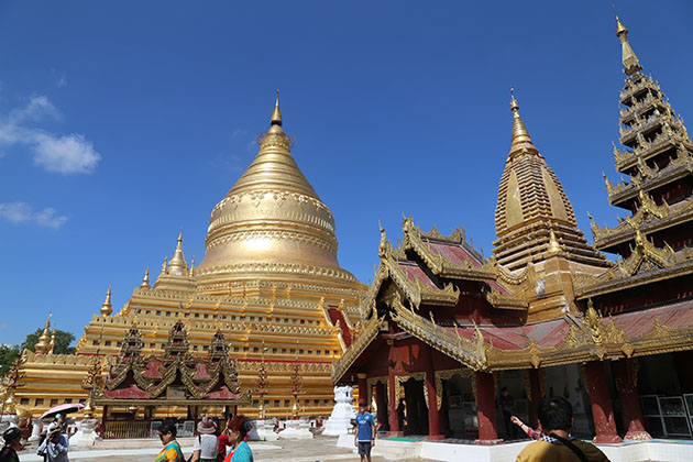 shwezigon pagoda - one of the best places to learn Buddhist teaching in Bagan