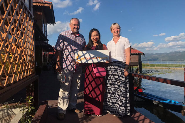 Ivor Long and his wife in inle lake